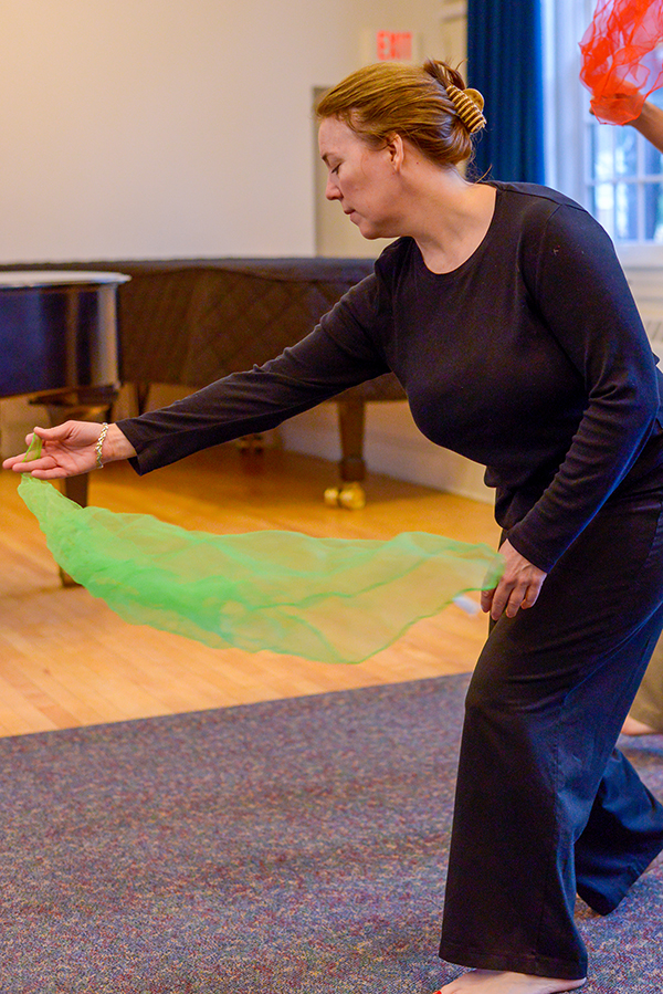 woman with scarf in dalcroze class for adults