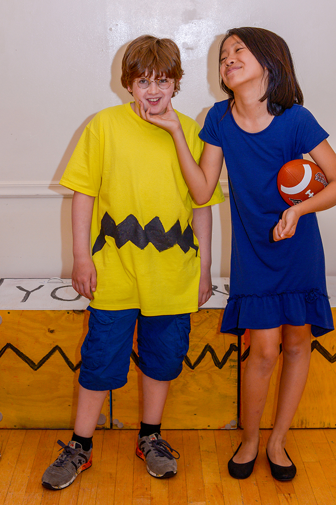 students dressed as charlie brown and lucy