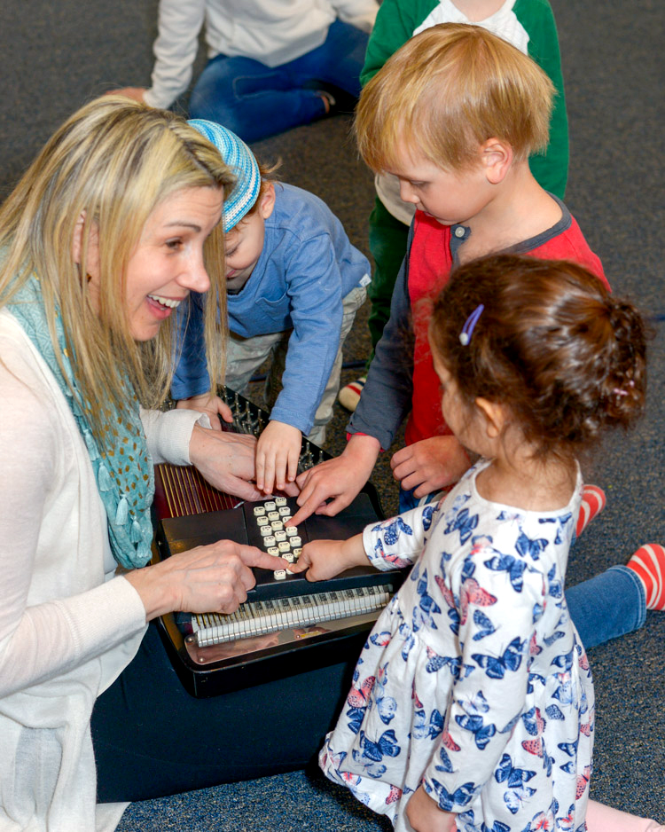 Laura Barnet Hoff-Barthelson Music School Early Childhood specialist teaches a class for pre-schoolers